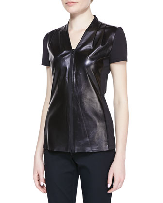 Lambskin & Jersey Short-Sleeve Blouse