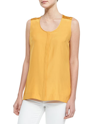 Sleeveless Silk Blouse, Sunflower