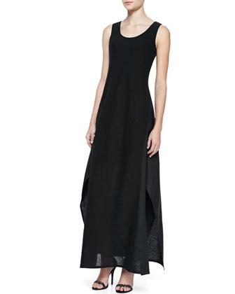 Linen & Gauze Sleeveless Long Dress