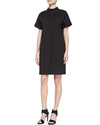 Stretch-Cotton Short-Sleeve Shirtdress