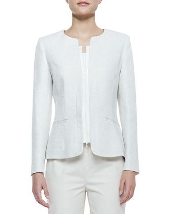 Lynessa Faille-Trim Long-Sleeve Jacket