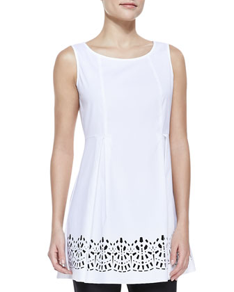 Laser-Cutout Sleeveless Top & Stanton Stretch-Linen Pants