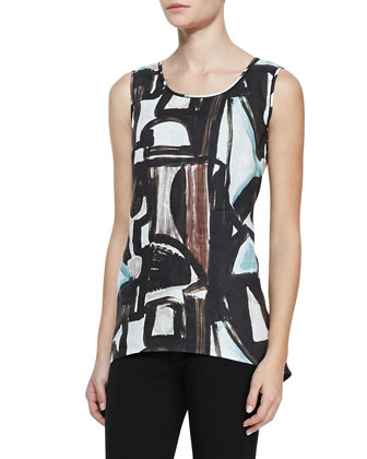 Modern Movement Printed Linen High-Low Sleeveless Top