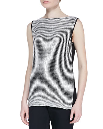 Two-Tone Stripe-Knit Bateau-Neck Shell