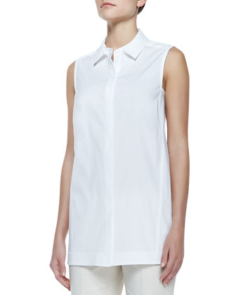 Button-Front Sleeveless Blouse