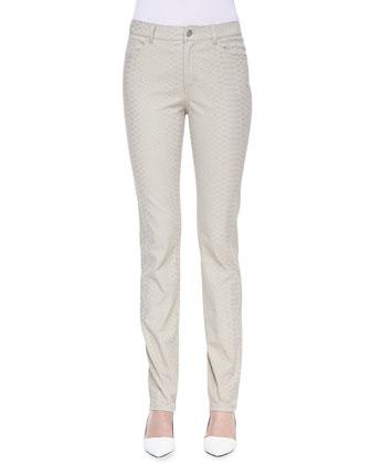 Reptilian-Print Curvy Slim-Leg Jeans