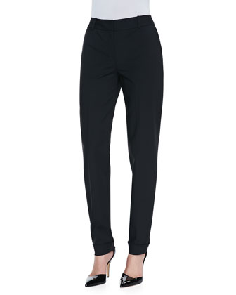 Stretch-Cotton Zip-Front Blouse & Perry Fundamental Bi-Stretch Pants