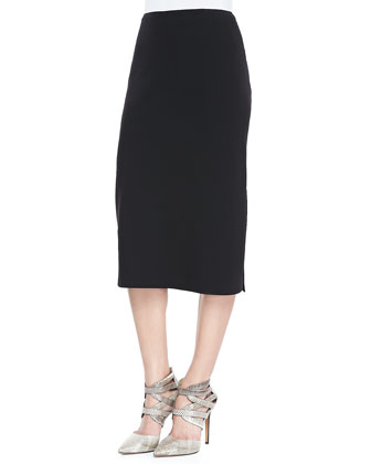 Priscilla Over-the-Knee Skirt, Black