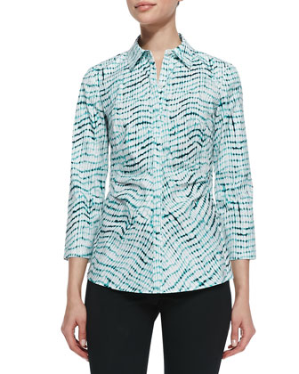 Leigh Printed 3/4-Sleeve Blouse
