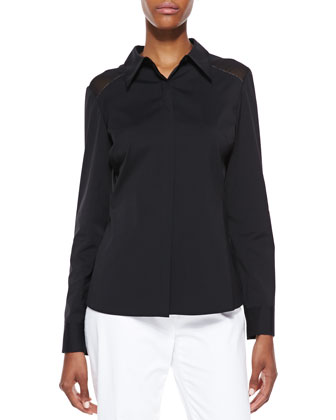 Long-Sleeve Poplin Blouse, Black