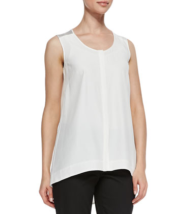 Sleeveless Silk High-Low Blouse, Cloud