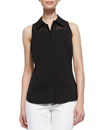 Alania Sleeveless Sheer-Yoke Blouse, Black