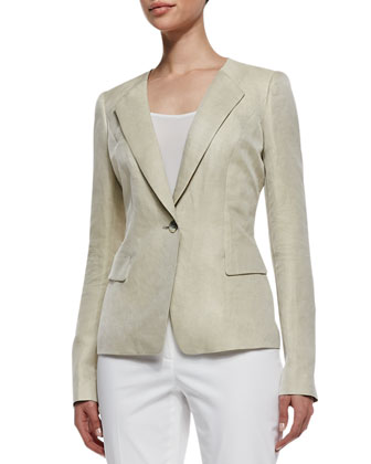 Eco Twill Weave One-Button Jacket & Downtown Straight-Leg Pants