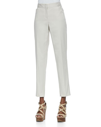 Poplin Oversized Shawl-Collar Long Topper & Downtown Cropped Pants