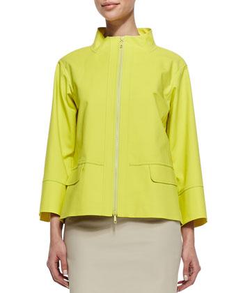 Metro Zip-Front Topper Jacket, Parakeet