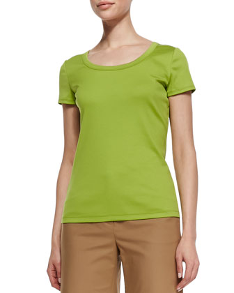 Cotton-Stretch Basic Tee, Bamboo