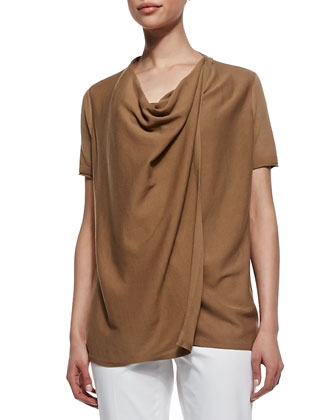 Short-Sleeve Draped Cardigan