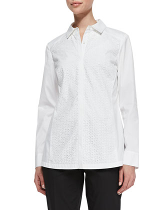 Katen Laser-Cut Blouse, White