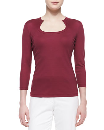Horseshoe-Neck Jersey Top, Pomegranate