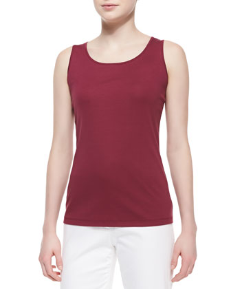 Scoop-Neck Long Tank Top, Pomegranate