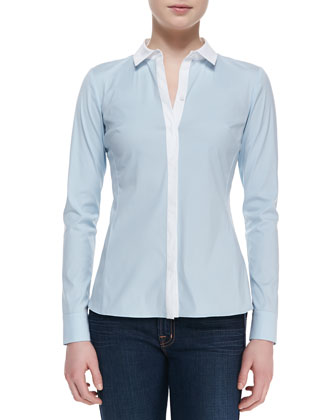 Rula Long-Sleeve Blouse, Ice Blue
