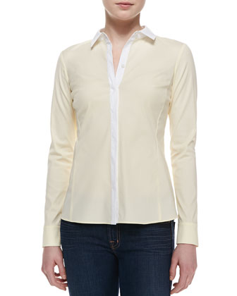 Rula Long-Sleeve Blouse, Lemon Sorbet