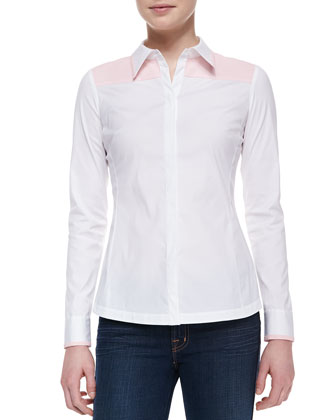 Karlyn Long-Sleeve Blouse, White-Blush