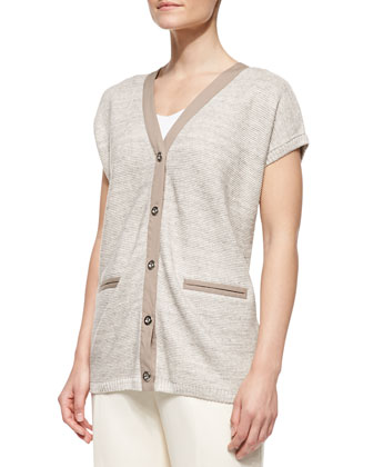Short-Sleeve Linen Cardigan Sweater