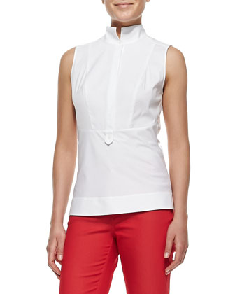 Stretch Cotton Sleeveless Top With Pique Front, White