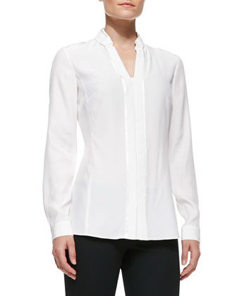 Silk Placket Blouse With Bar Tacking, Cloud