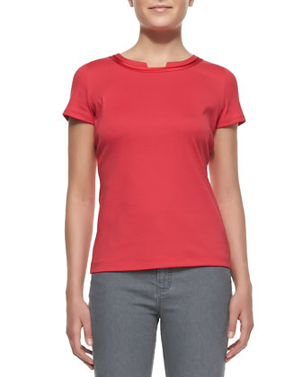 Short-Sleeve Scoop-Neck Tee With Charmeuse Trim, Dynamite