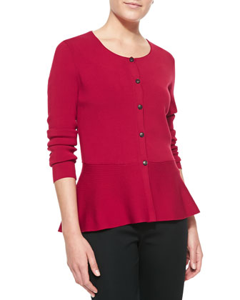 Long-Sleeve Cardigan With Crepe Peplum, Snapdragon