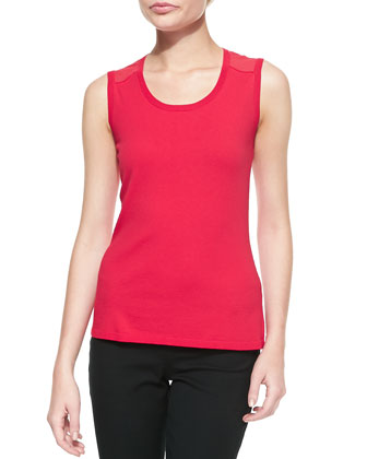 Scoop-Neck Shell With Georgette Mesh Accent, Snapdragon