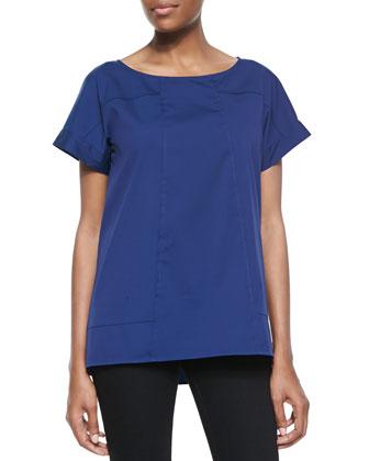 Deryn Cotton Short-Sleeve Top, Luna