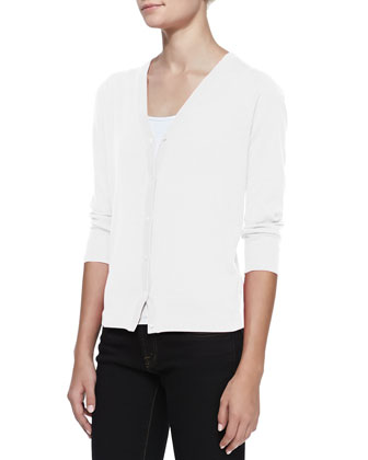 3/4-Sleeve V-Neck Cardigan, White