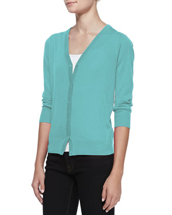 3/4-Sleeve V-Neck Cardigan, Jade