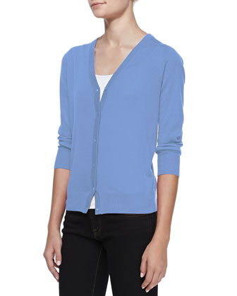 3/4-Sleeve V-Neck Cardigan, Blue