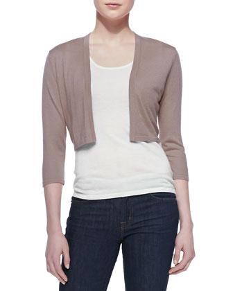 3/4-Sleeve Silk-Cashmere Shrug, Taupe