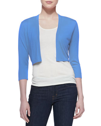 3/4-Sleeve Silk-Cashmere Shrug, Blue