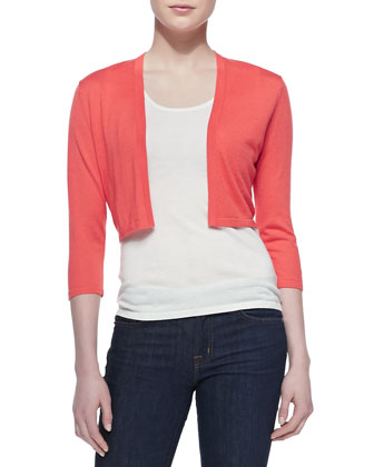 3/4-Sleeve Silk-Blend Shrug, Coral Reef