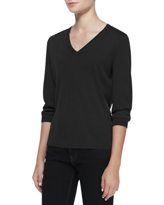 V-Neck Silk-Cashmere Top, Black