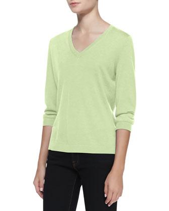 V-Neck Silk-Cashmere Top, Mint