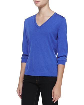 3/4-Sleeve V-Neck Sweater, Denim