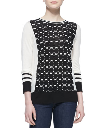 Dot-Panel Silk-Cashmere Top