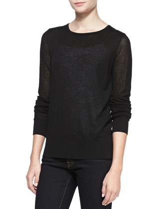 Pique Stitch Silk-Cashmere Top, Black