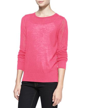 Pique Stitch Silk-Cashmere Top, Pink