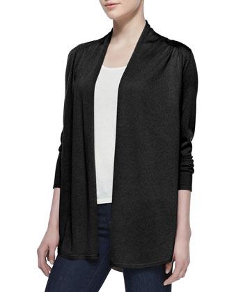 Draped Shirttail Silk-Cashmere Cardigan, Black
