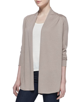 Draped Shirttail Silk-Cashmere Cardigan, Taupe