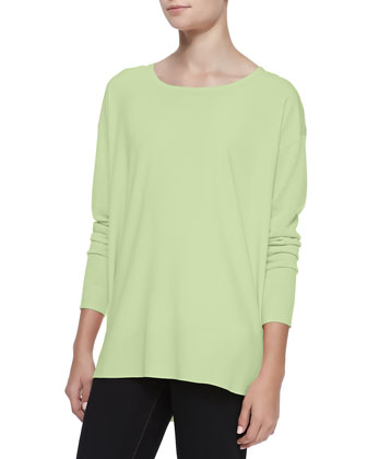 Silk-Front Long-Sleeve Tunic, Mint