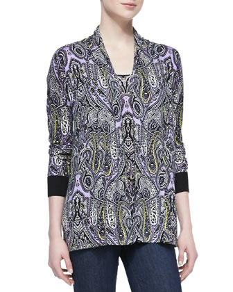 Paisley Printed Open Cardigan